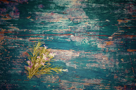 nosegay: Small nosegay of rosemary on blue wooden background with space for message or photo Stock Photo