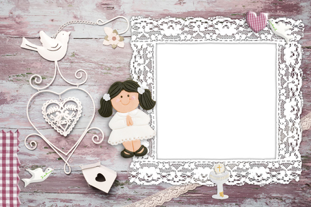 vintage photo frame: First Communion background invitation for girl, empty photo frame vintage and christian symbols