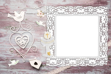 First Communion background invitation, empty photo frame vintage and christian symbols