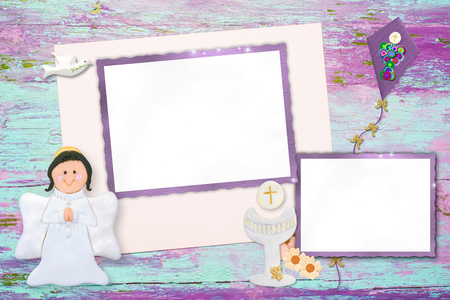 first holy communion: First Holy Communion photo frame invitation, chalice and flowers with two photo frames