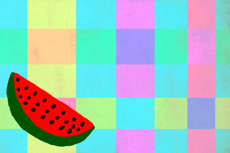 pastel tone: Funny drawing of a watermelon on pastel tone  background Stock Photo