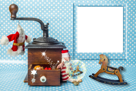 Christmas photo frame greeting card, empty frame and vintage Christmas decoration and toys