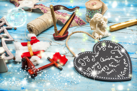 good wishes: Christmas greetings card, Christmas ornaments and good wishes message, magig atmosphere