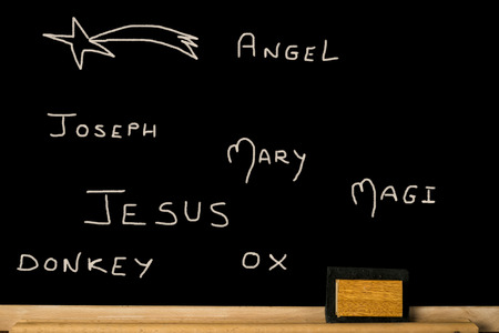wisemen: Concept Christmas card, names written on a blackboard of the components of Nativity Scene Stock Photo