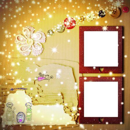 estrella de belen: Navidad alegre dos marcos de fotos tarjeta, dibujo cuna del niño de Belén en una caja de cartón y la estrella de belén hecho con una flor y botones