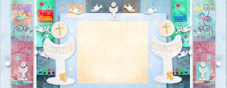 カラフルな日付を書き、写真を配置する空白の領域と初聖体拝領式長方形招待状