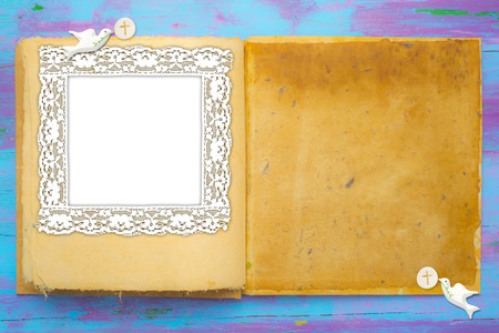 First Holy Communion invitations, open book with doves and consecrated host with empty  photo frame and space for text.