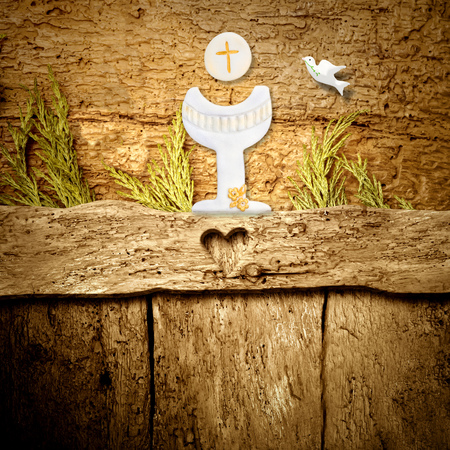 First Holy Communion background, Chalice and dove on rustic wooden background