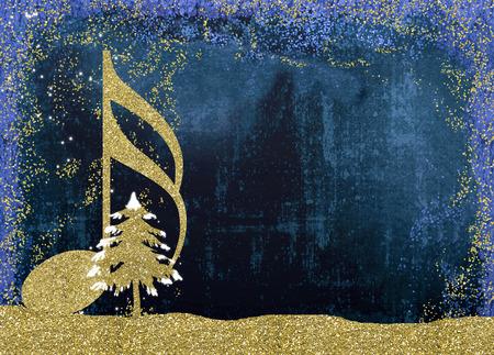 Świąteczna kartka muzyczna. Szesnastka i choinka złoty brokat tekstury na niebieskim tle z miejsca na kopię.