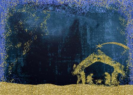 Weihnachtskrippe-Grußkarten, abstrakte Freihandzeichnenzeichnung der Krippe mit goldenem Funkeln, Schmutzhintergrund mit freiem Raum. Standard-Bild