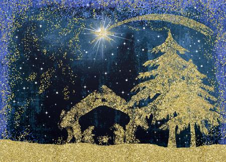 Cartes de voeux de la crèche de Noël, dessin abstrait à main levée de la scène de la Nativité avec des paillettes dorées.