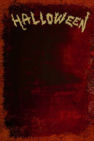 Empty poster for Halloween parties, black and red background with golden letters, vertical image.