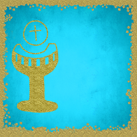 My First Holy Communion invitation reminder card, gold Chalice in blue background and blank space to customization Stock Photo