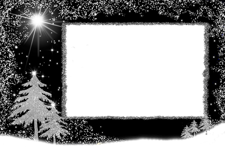 Christmas postcard, freehand drawn christmas tree with silver glitter on white background with space for text or menu  message