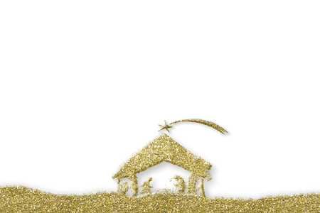 Nativity Scene greeting backgrounds. Nativity Scene abstract freehand golden glitter on white background with copy space. Archivio Fotografico