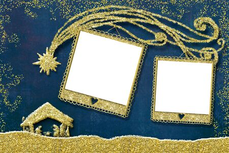 Christmas photo frames card.Two empty picture frames,  Nativity Scene and tree, freehand drawn with gold glitter.
