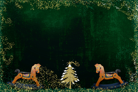 Christmas greeting card, Christmas tree glitter gold texture and vintage rocking horse on dark green background