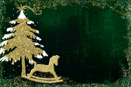 Christmas greeting card, Christmas tree and rocking horse glitter gold texture on dark green background with blank to write message or put photo Stock Photo