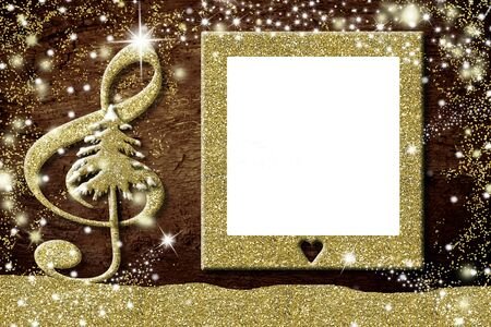 Christmas photo frames cards, treble clef and Christmas tree in gold glitter texture, blank picture frame