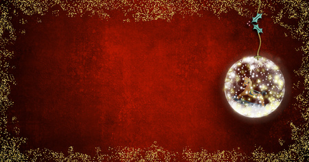 Background for writing christmas cards, rocking horse old toy  inside xmax ball on red background with space for message, panoramic format.