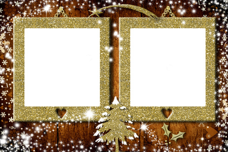 Two Photo Frames Christmas Cards, Christmas Tree Of Golden Glitter ...