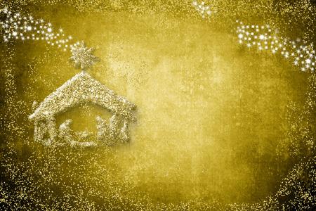 Gold Christmas nativity scene with grunge copy space. Reklamní fotografie - 91194557