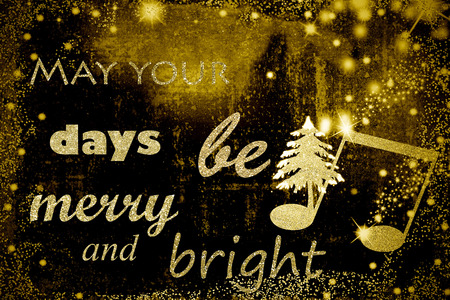 Phrase for Christmas greeting in golden letters on background with musical and Christmas symbols 스톡 콘텐츠