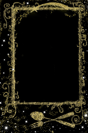 Background for writing  Christmas menu, freehand  golden glitter drawing  of menu symbol or recipes and empty space on black backgroud, vertical image.