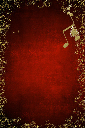Christmas musical card. Quaver and Christmas tree  golden glitter texture on blue background with copy space. Vertical image. Stock Photo