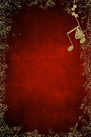 Tarjeta musical de navidad. Quaver y textura de oro brillo de árbol de Navidad sobre fondo azul con espacio de copia. Imagen vertical.