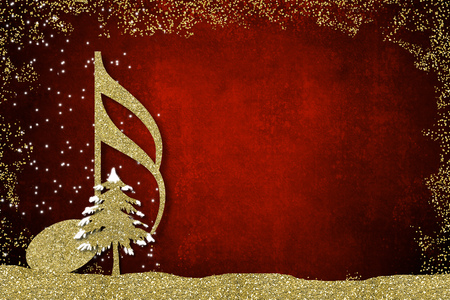 Christmas musical card. Semiquaver and Christmas tree golden glitter texture on redbackground with copy space.