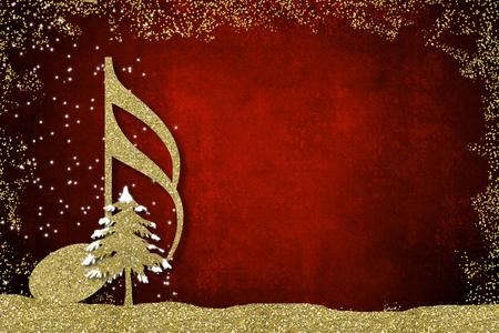 Muzikale kerstkaart. Semiquaver en kerstboom gouden glitter textuur op redbackground met kopie ruimte.