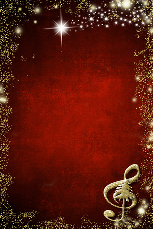 Christmas musical background. Treble clef and Christmas tree  golden glitter texture on red background with copy space. Vertical image.
