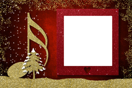 Christmas frame musical card.  Semiquaver and Christmas tree  golden glitter texture on red background  and empty frame