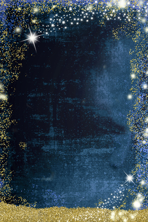 Christmas Nativity greetings cards, Star of Bethlehem and gold texture on blank grunge  blue background Stock Photo