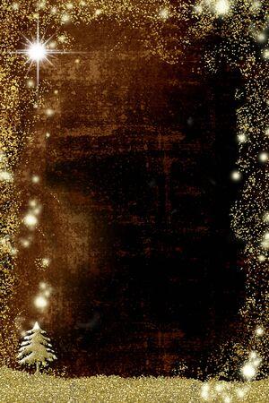 クリスマスグリーティングカード、金色の輝きを持つモミの木の抽象的なフリーハンド描画、コピースペース、垂直画像とグランジの背景。