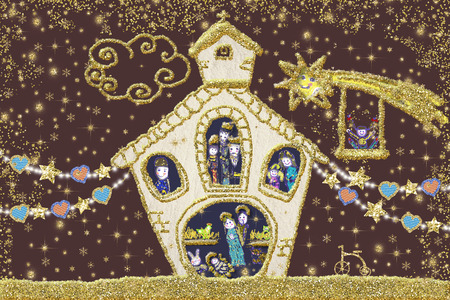 Nativity Scene Christmas greeting card. Nativity Scene drawn freehand with childish style and golden glitter.
