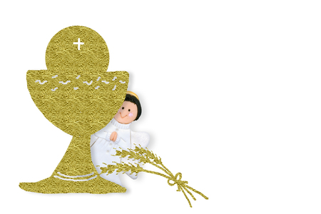 First Holy Communion invitations, gold chalice on white  background with empty space for text and photos