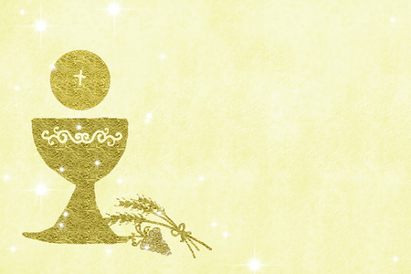 First Holy Communion invitations, gold chalice wheat and grapes on yellow  background with empty space for text and photos