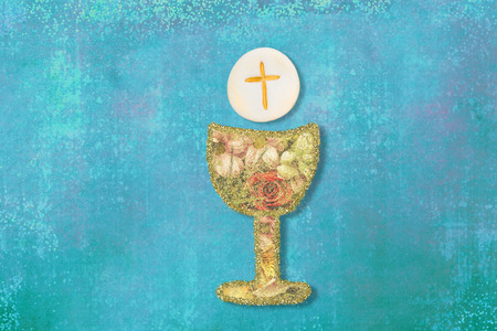 First Holy Communion invitations, cute chalice and host on blue background with copy space.