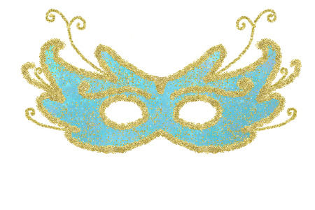 Carnival eye mask blue and gold with flowers isolated on white background, freehand drawing.