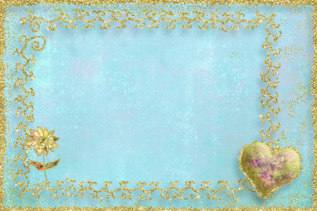 Pale blue card with fine gold decoration around the border plus a gold heart and a gold flower suitable for both Saint Valentines Day and Mothers Day.