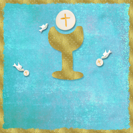 First Holy Communion invitations, gold chalice and dove on blue background with empty space for text