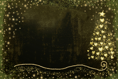 Christmas Nativity greetings cards, fir tree with gold hearts and Star of Bethlehem gold texture on dark green  background with blank Banque d'images - 111402298
