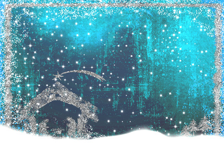 Christmas Nativity Scene greetings cards, abstract freehand drawing of Nativity scene with silver glitter, grunge background with blank.