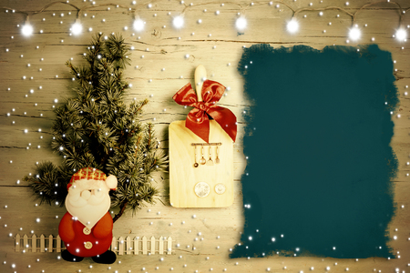 Fun background for menu or Christmas recipes. Fir, Santa Claus and kitchen utensils with blank background to write