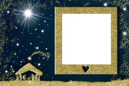 Weihnachtsfotorahmen-Grußkarte. Krippe freihändig mit goldenem Glitzer und goldenem Bilderrahmen