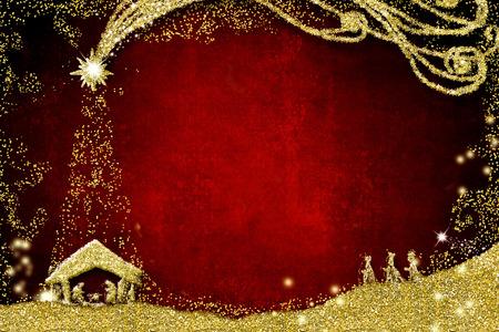 Weihnachtskrippen-Grußkarten Standard-Bild