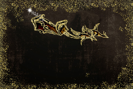 Christmas greeting card. Santa Claus sleigh pulled by two geese, handmade drawing with golden glitter, old style,  dark brown background with space to write message