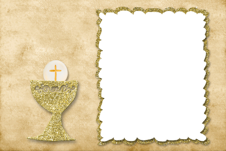 First holy communion invitation card. Stock Photo
